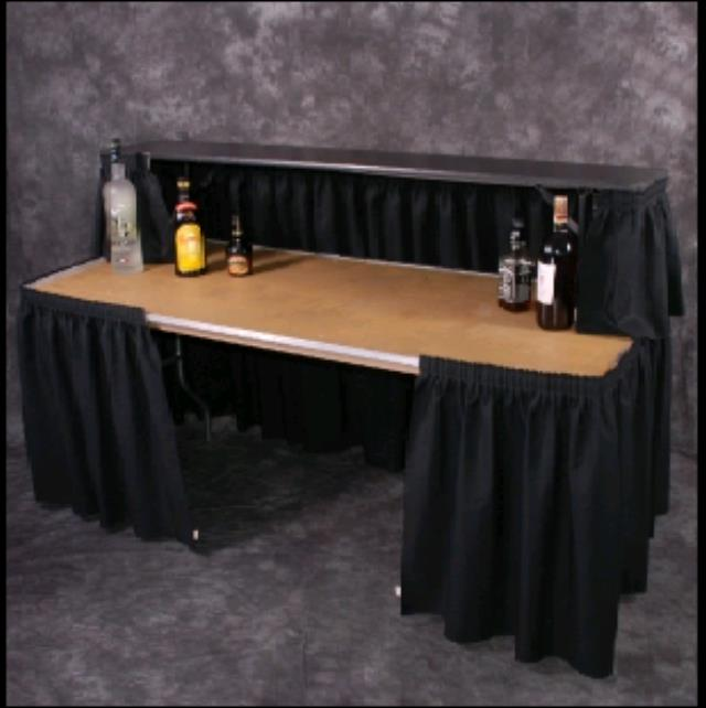 Where To Find PORTABLE BAR TABLE WITH BLACK SKIRTING In Hayden